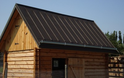 Standing seam roofing for outbuilding, Lyutizh town