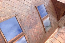 Copper roofing. Copper standing seam roofing
